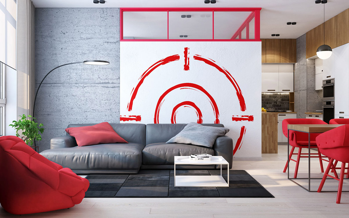 red accent apartment